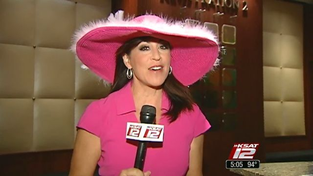 KSAT 12's Ursula Pari rockin' her Fiesta Hat... all for a good cause!
