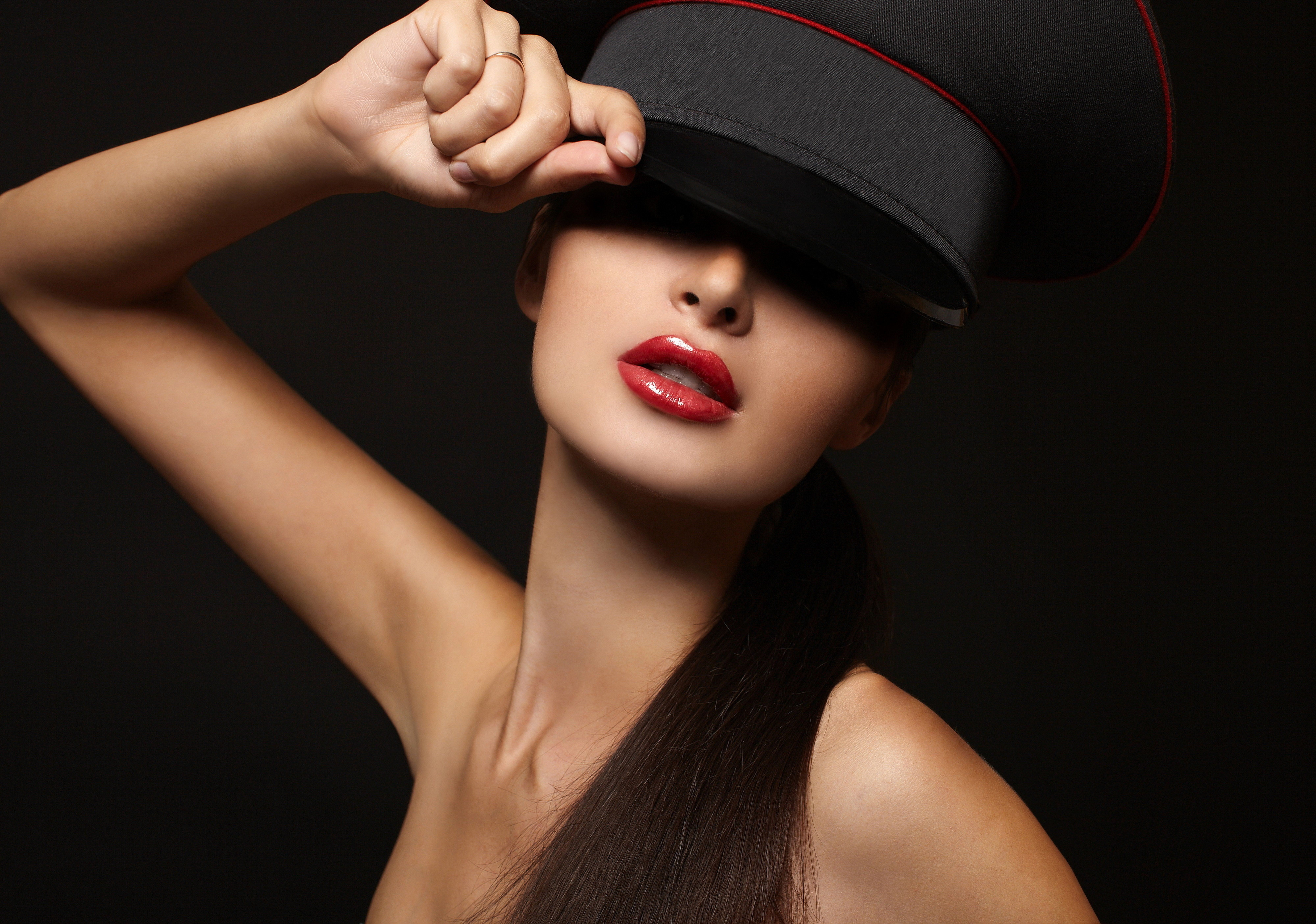 Girl Model Red Lips Lipstick Face Hand Hair Shoulders Black