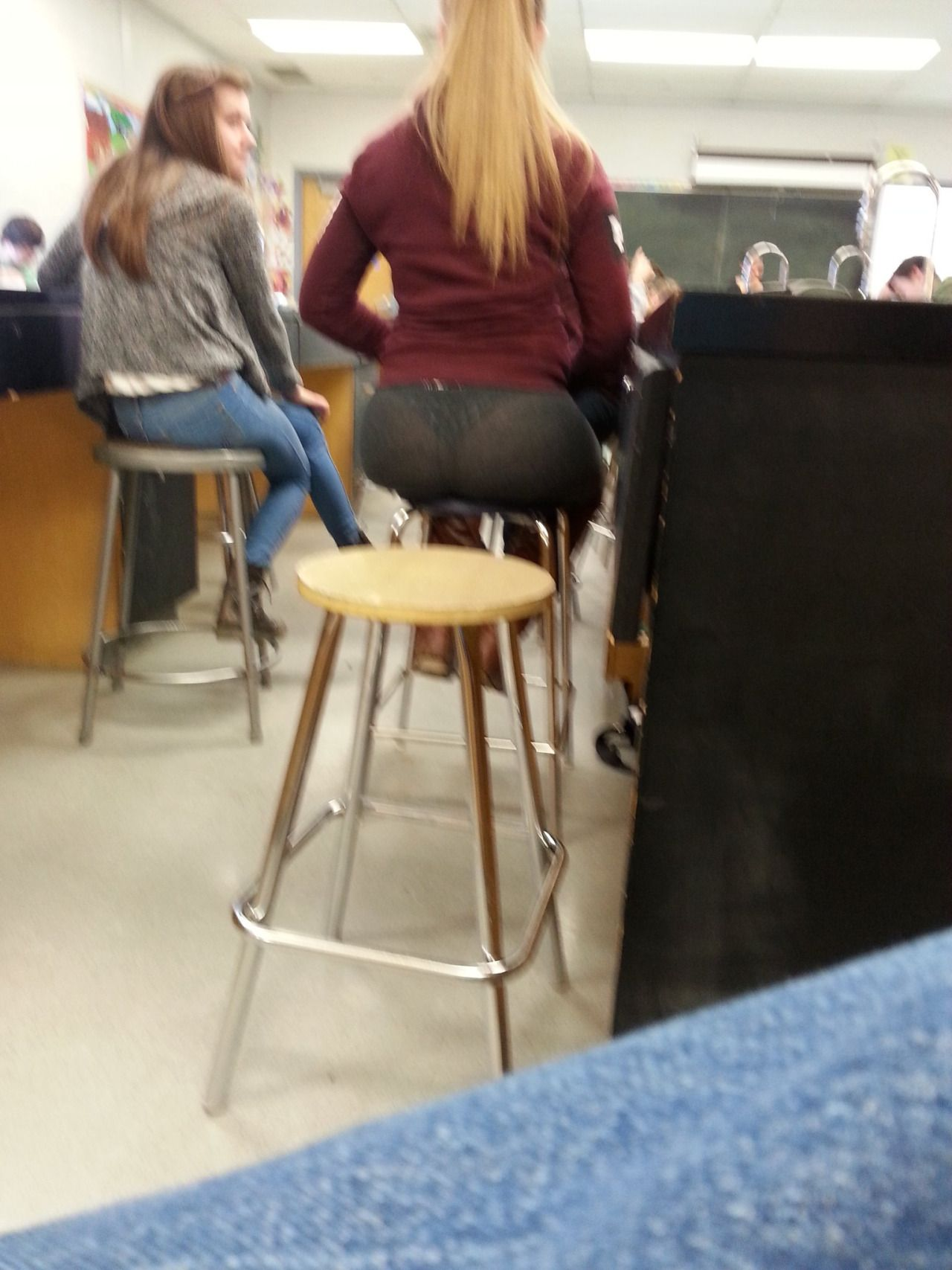 Oh Wow A Student In Chemistry Class Sits On A Stool -2196