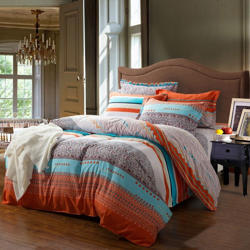 Romantic orange bedding orange and white for White and orange bedroom designs