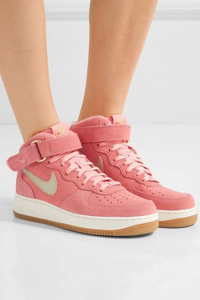 Pink Air Force 1 leather-trimmed suede