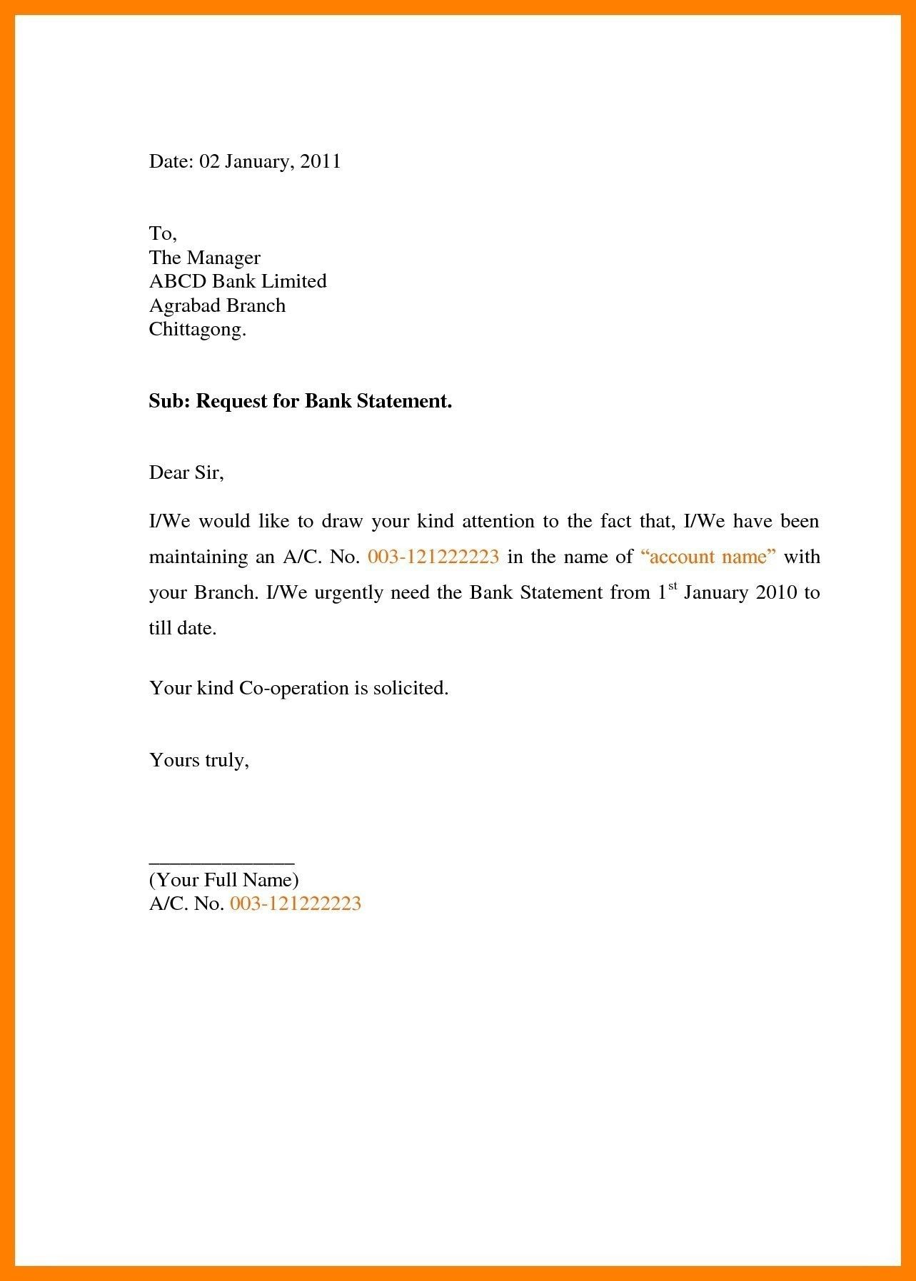 Request Letter to Bank Statement Best Application for Bank