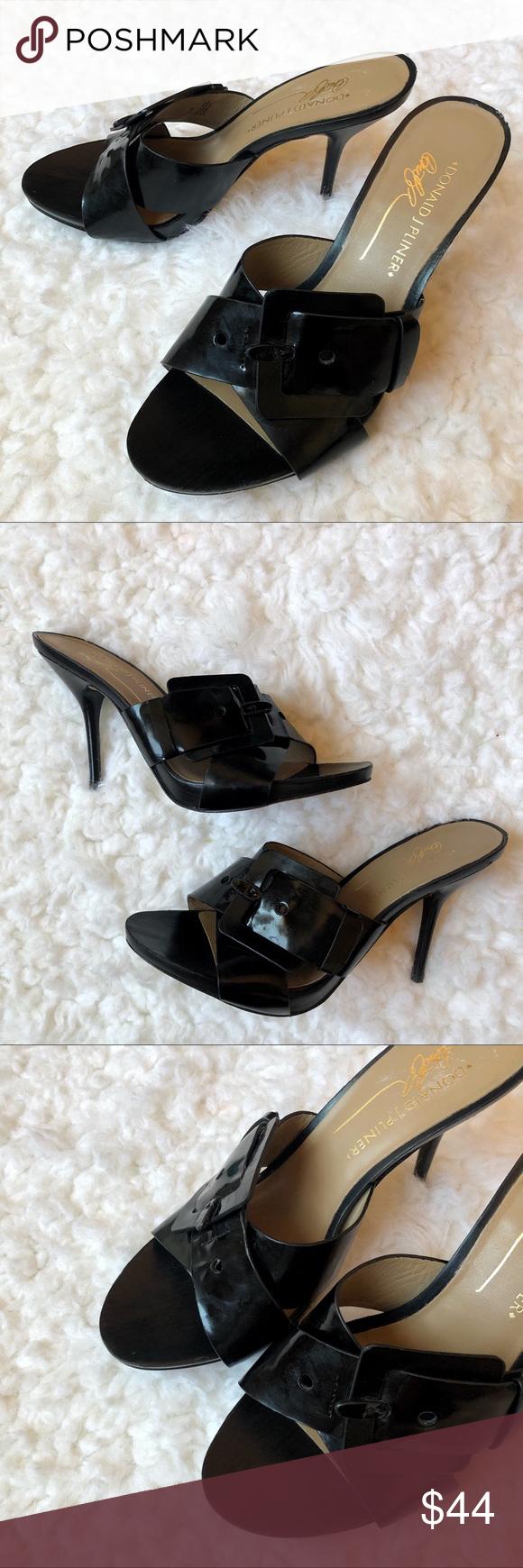 Donald J Pliner Elaine Black Leather Sandal Heel Black Leather Sandals Leather Sandals Sandals Heels