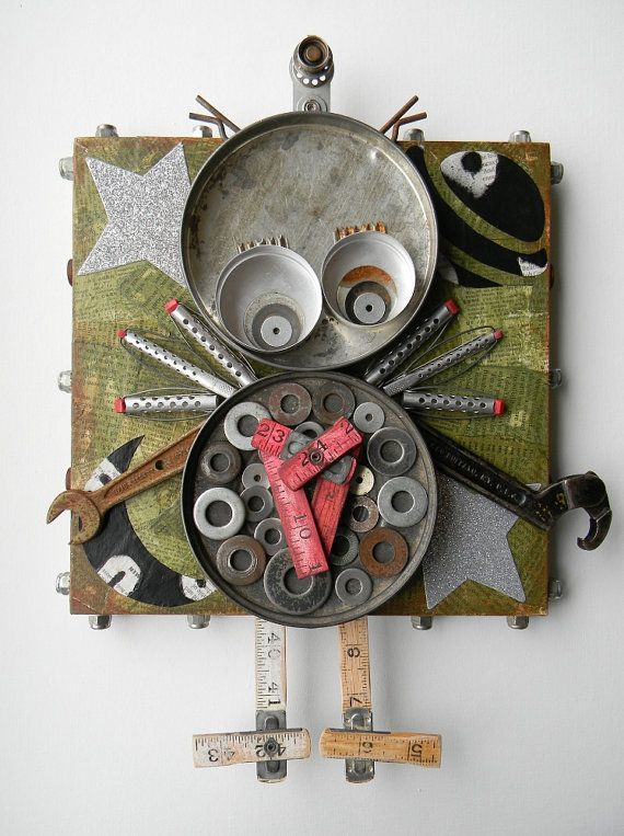 """Recycled Art Assemblage  -  """"(You gave me) My wooden heart""""   -  Orignial Mixed Media. $120.00, via Etsy."""