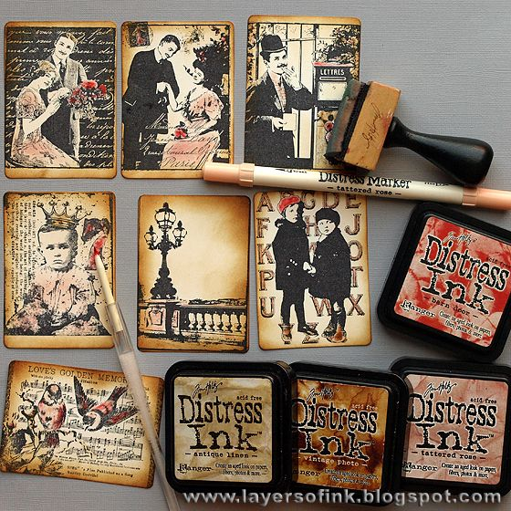 Layers of ink: Love ATC Box Tutorial used stamps from Tim Holtz, Darkroom Door and Artistic Outpost