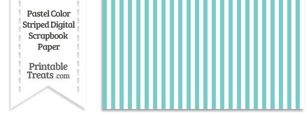 Pastel Blue Green Striped Digital Scrapbook Paper