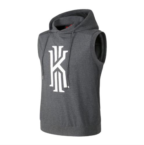 70627c99862 NBA Kyrie Irving Boston Celtics Men s Short T-shirt Sleeveless Hoodie Gray