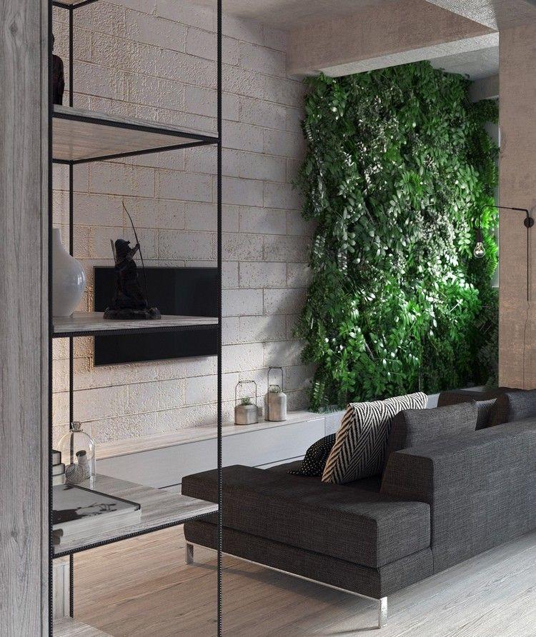 Kleine Wohnungen einrichten mit vertikalem Garten im Interieur