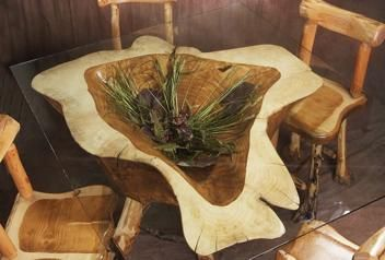 Tree Stump Ideas | ... On Kitchen Table Mounted On A Stump With Floral