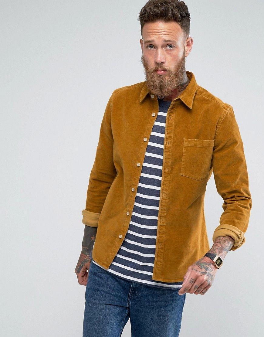 c006ec71cd615 ASOS Slim Fit Cord Shirt In Mustard - Tan