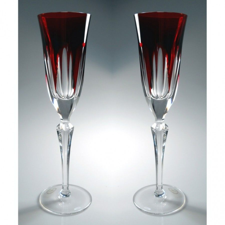 Karin Crystal Champagne Flute Set Of 2 Ruby Red 3 About