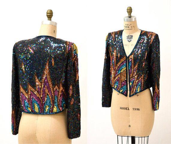 81eedfb80ad 70s Vintage Sequin Jacket By Jack Bryan Black by Hookedonhoney