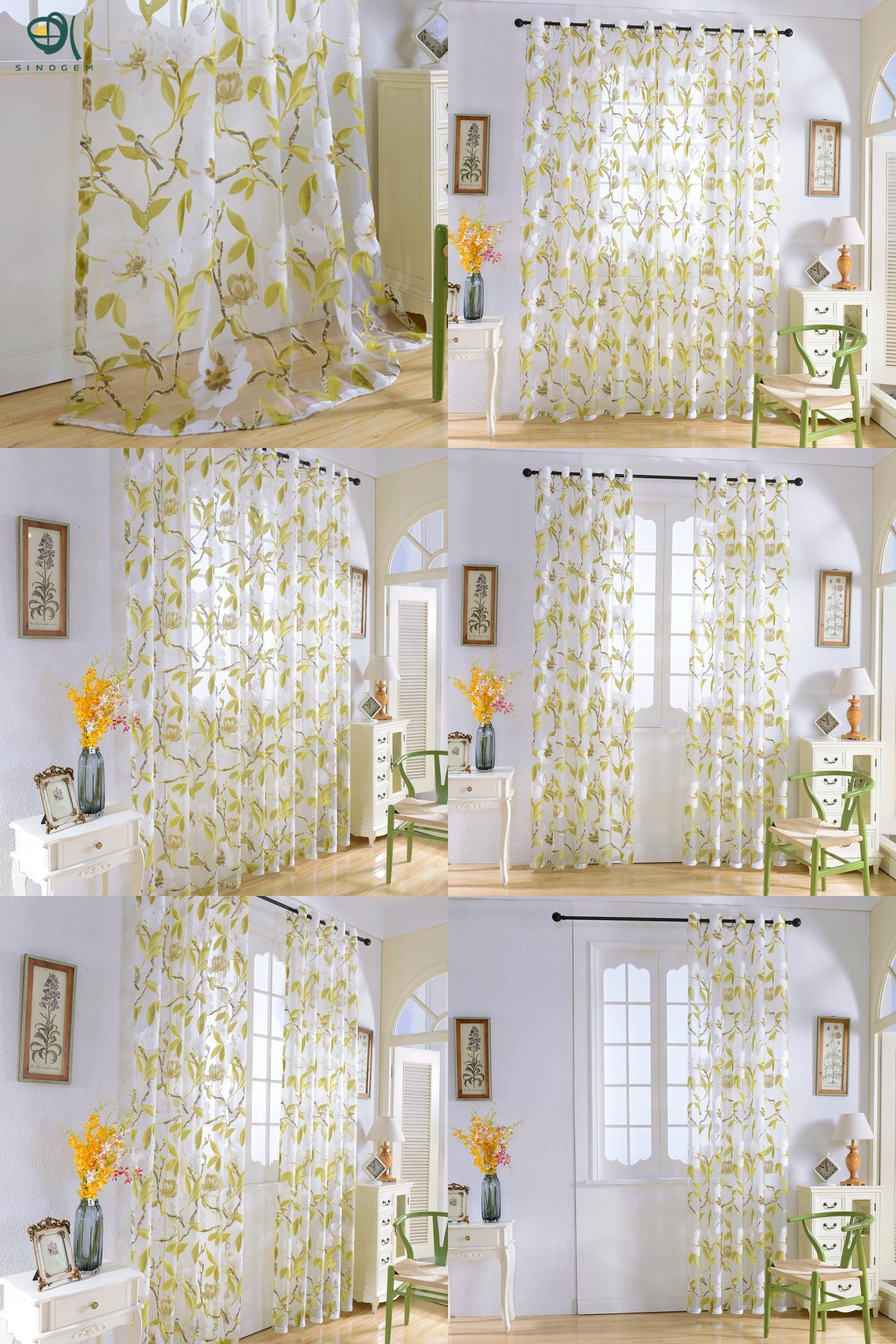 [Visit To Buy] Sinogem Flowers Birds Curtains Tulle Window Curtain For  Living Room Bedroom