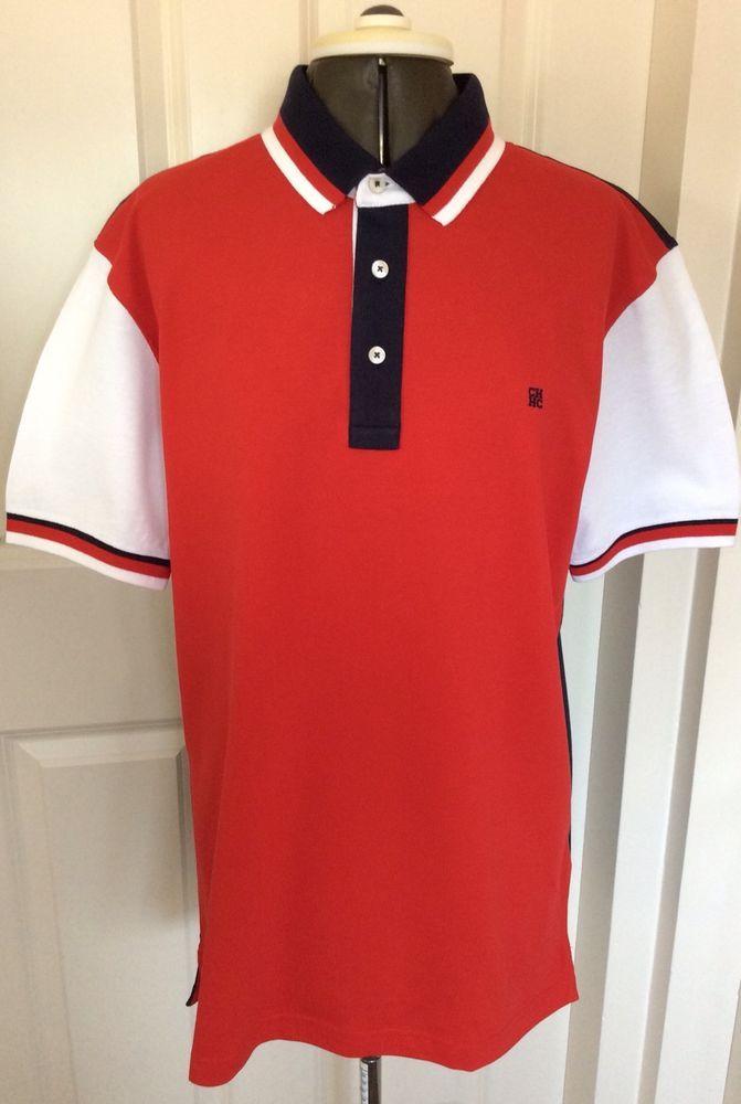 4b3305dcc New Carolina Herrera Mens Polo Tshirt Red Blue White X Large Short Sleeves