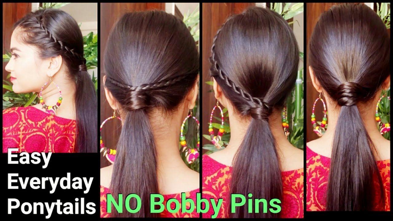 3 Easy Everyday Ponytail Hairstyles For Medium To Long Hair For Diwali Hair Styles Long Hair Styles Ponytail Hairstyles Easy