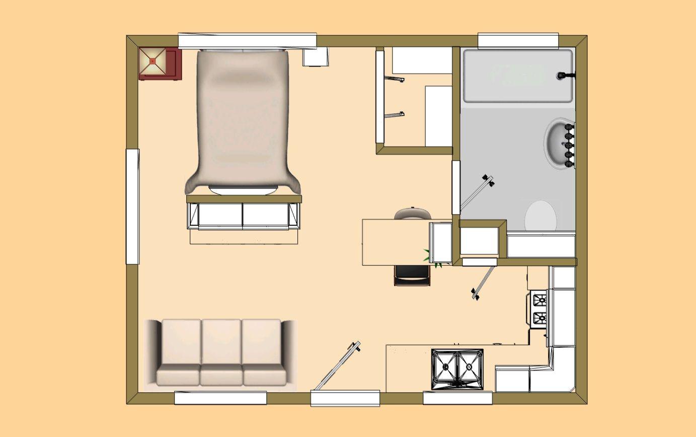 The 320 Sq Ft Version Of Our Floor Plan We Call The Buckaroo Xxl Studio Apartment Floor Plans House Plans Tiny House Floor Plans