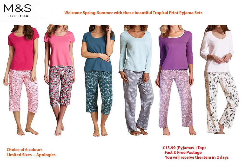 12-14 M/&S Womens Pure Cotton  Pyjamas Set Long Sleeve Top Pants STAY NEW
