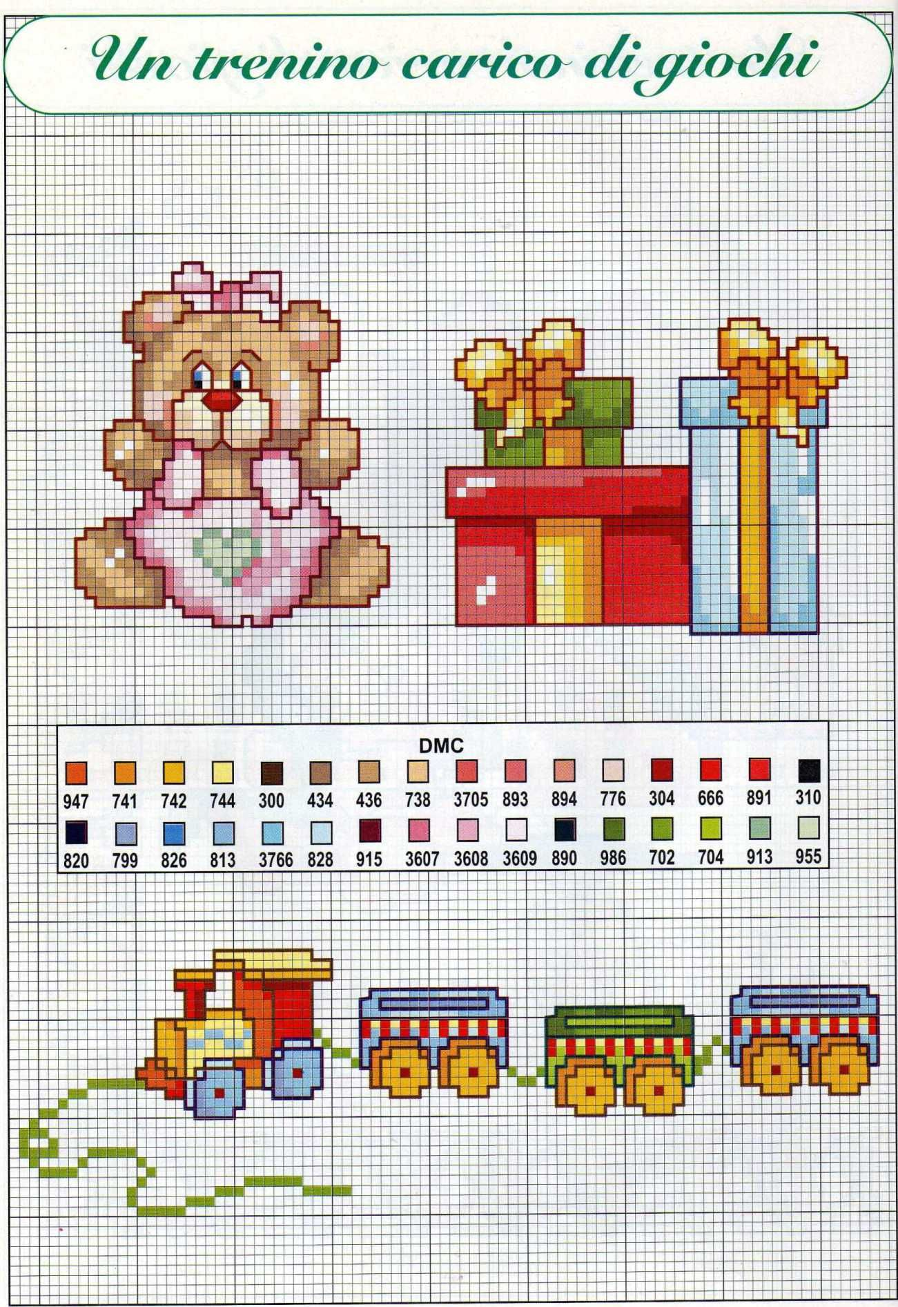 bambini orsetta doni trenino | Cross stitch | Pinterest | Cross ...