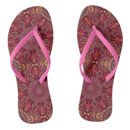 312818985b73 Colorful abstract ethnic floral mandala pattern de flip flops - floral  gifts flower flowers gift ideas