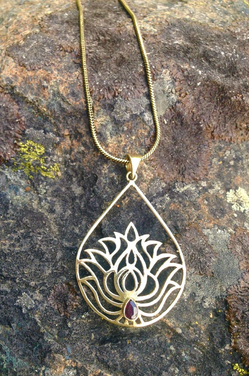 Brass teardrop water lotus necklace with garnet spiritual yogini brass teardrop water lotus necklace with garnet spiritual yogini yoga flower meditation symbol jewelry with izmirmasajfo