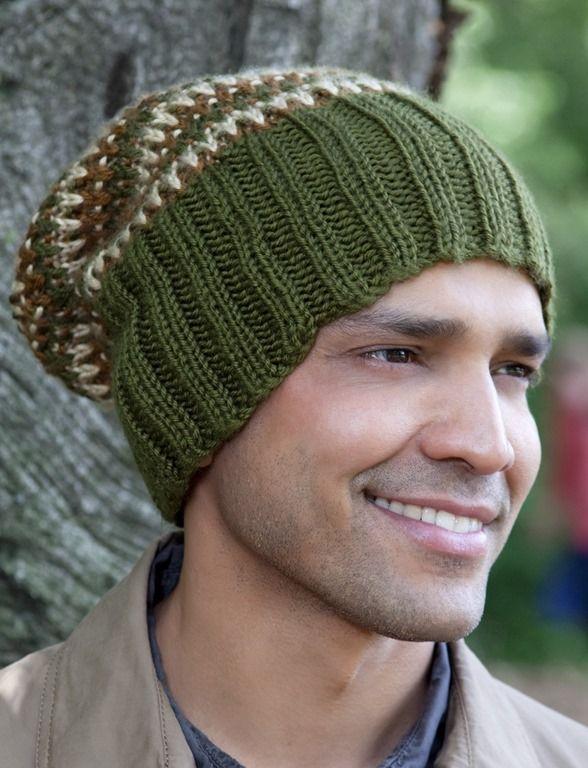 4af3f3249eaf13 Winter hats for men :: FineCraftGuild.com :: knitting pattern for mens  tri-color hat