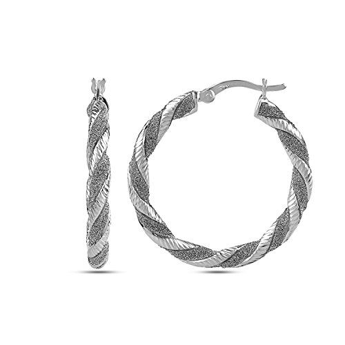 8cf09a527 LeCalla Sterling Silver Jewelry Rhodium Plated Twisted Tube Glitter Hoop  Earrings for Women Who we are?LeCalla is a leading online destination, ...