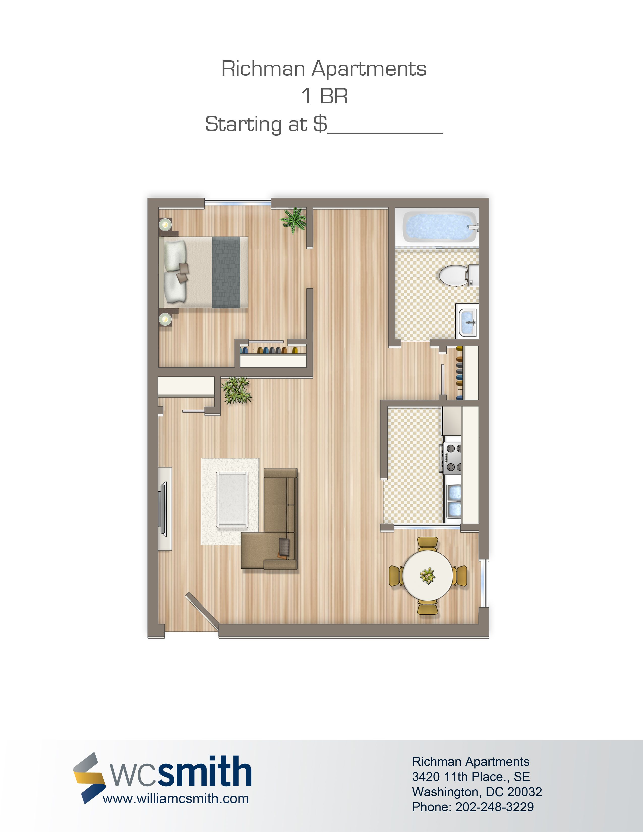 One Bedroom Floor Plan | Richman In Southeast Washington DC | WC Smith # Apartments |