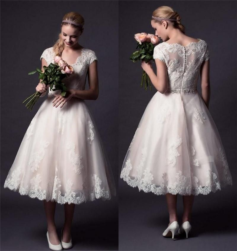 Vintage Lace Tea Length Beach Wedding Dress Short Sleeves: Wedding Gown Rental 2015 New Short Vintage Lace Wedding