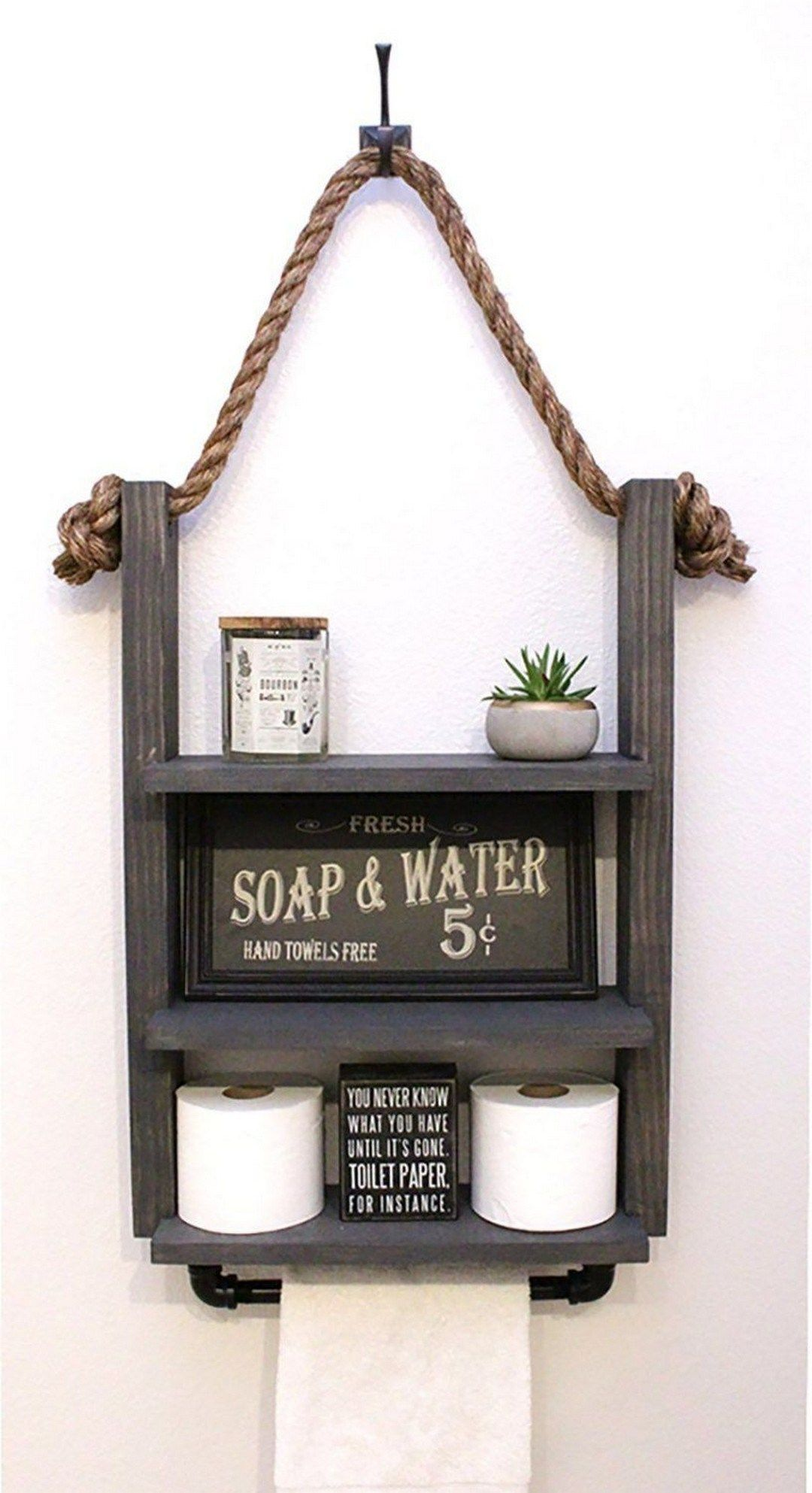 67 bathroom shelf with industrial farmhouse towel bar 9