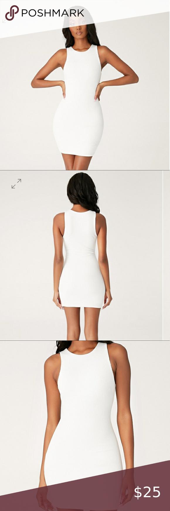 Meshki Pania Ribbed Sleeveless Dress White Size S Stretchy Dress Sleeveless White Dress [ 1740 x 580 Pixel ]