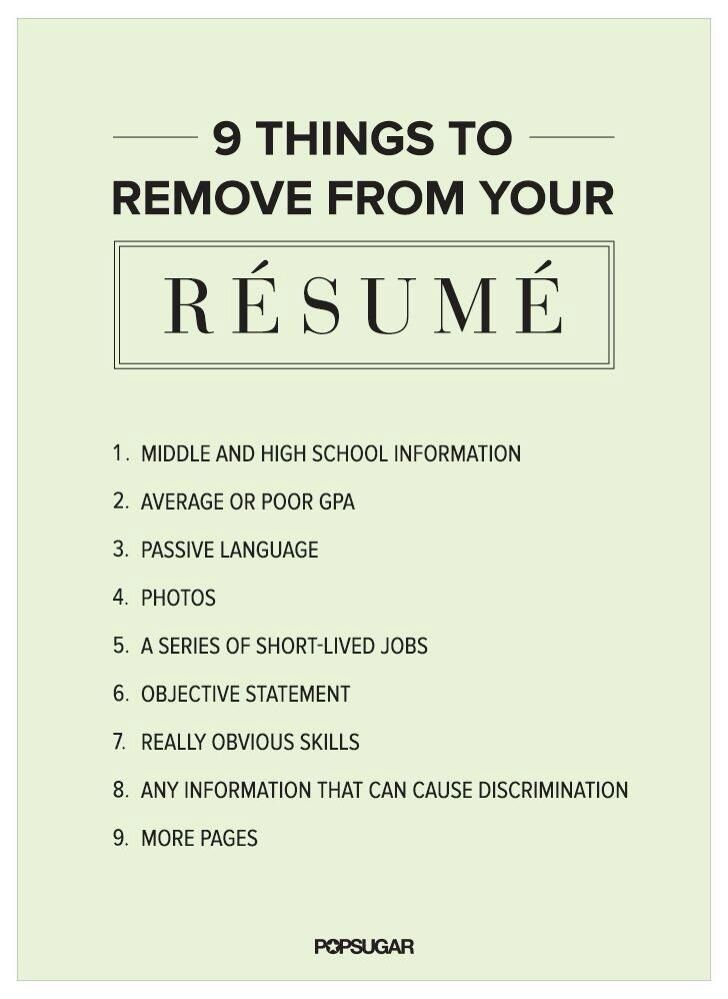 9 Things to Remove From Your Résumé Right Now Big Girl World