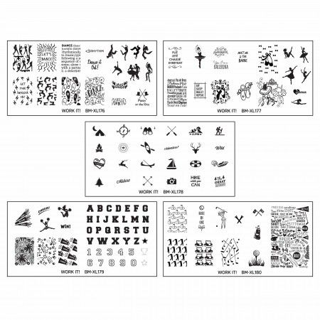 5pc Work It! Nail Art Stamping XL Plate Set 2 : Great Outdoors