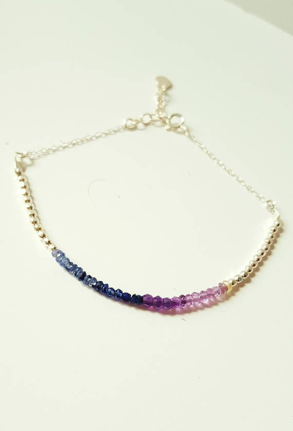 Sapphire Silver Bracelet-Amethyst Pearl sterling silver and
