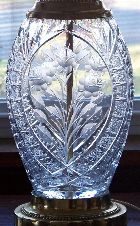 Vintage Table Lamp Dresden Intaglio Cut Crystal Table Lamp / Crystal ...