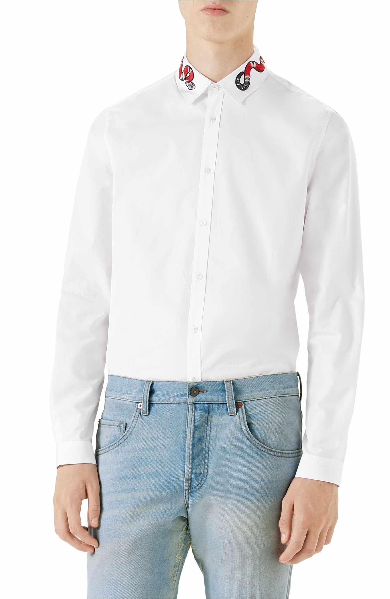 Main Image Gucci Snake Embroidered Collar Shirt Faves Collar