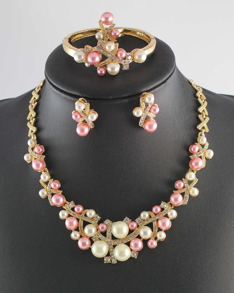 Gold Plated Bridal Jewelry Sets Pearl Rhinestone Crystal