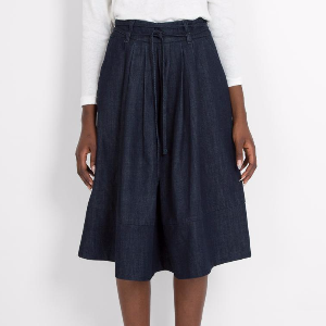 Sideline Orla Denim Skirt: A pleated denim skirt which ties with a thin denim belt and a zip; on the back of the skirt. Just below knee length and perfect for the summery weather!