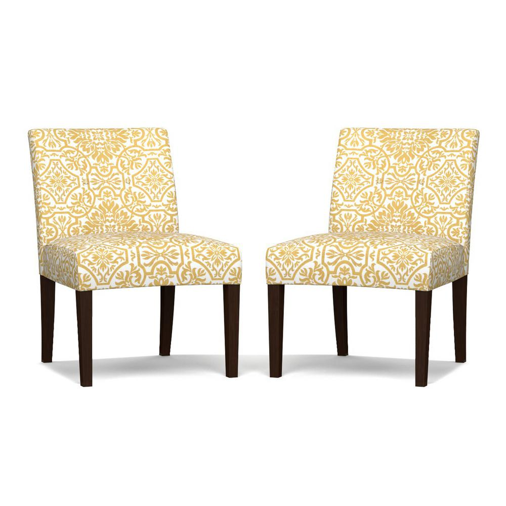 Yellow Chairs For Sale With Rollers Handy Living Nate Golden Damask Side Set Of 2 Chair