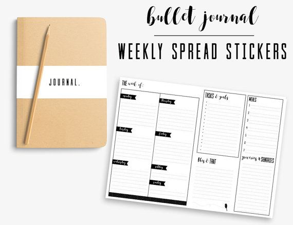 Bullet journal weekly spread printable minimal weekly layout for a5 bullet journal or planner filofax kikki k black white clear labelspaper
