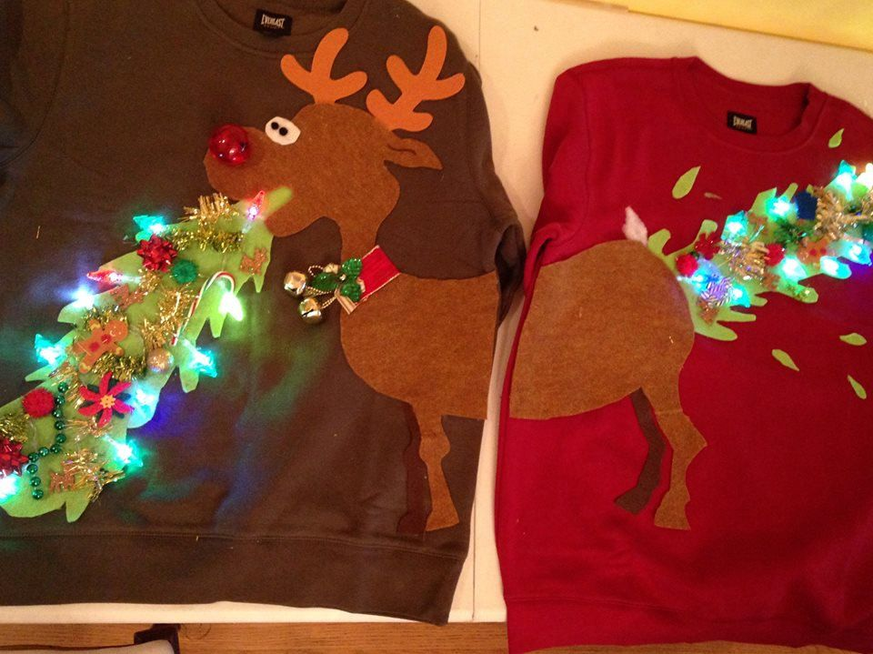 ugly christmas sweater couple sweater vomitting reindeer with lights by burstcreationsstudio on etsy