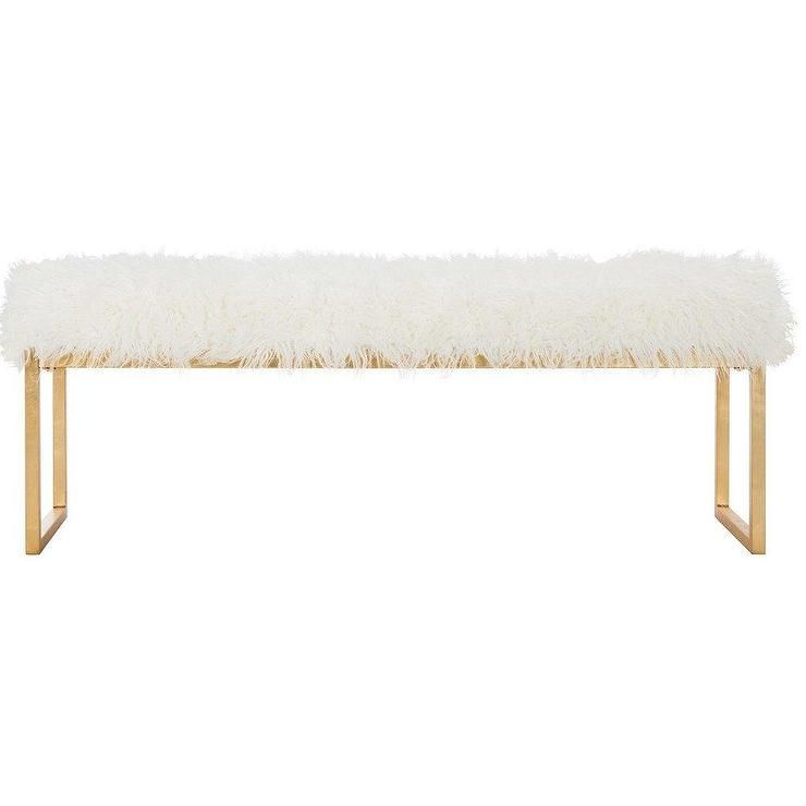 Montgomery White Fur Gold Bedroom Bench Upholstered Bench