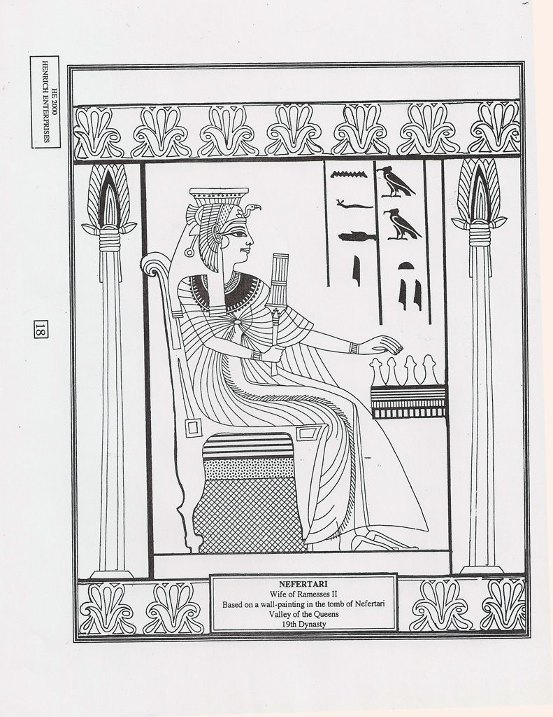 ancient egypt nefertari coloring page art lesson handouts