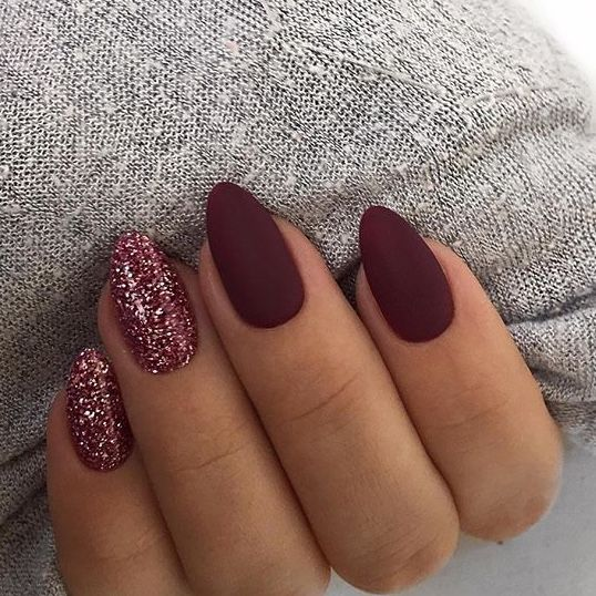 Matte Burgundy With Sparkle Awesome For Fall Sparkle Nails Almond Nails Designs Stylish Nails