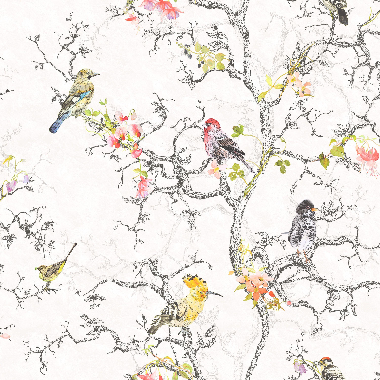 Statement Ornithology Metallic Effect Wallpaper   Departments   DIY at B Q. Statement Ornithology Birds Metallic Effect Wallpaper   Paper
