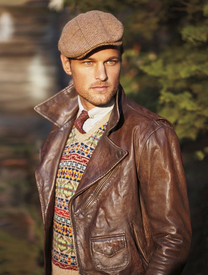 Men's Brown Leather Biker Jacket, Beige Fair Isle V-neck Sweater ...