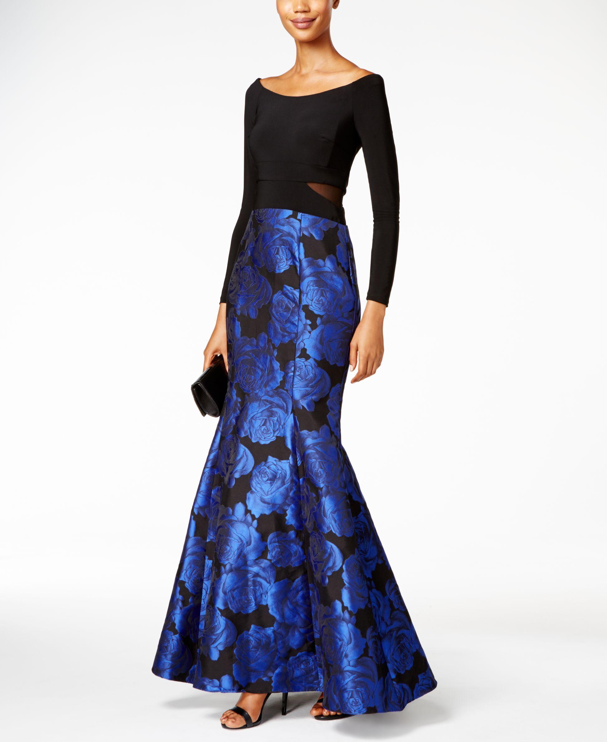 Xscape Off-The-Shoulder Floral-Print Mermaid Gown