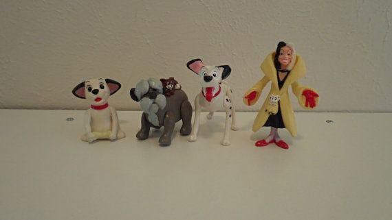 Set of 4 vintage 101 Dalmations toy figurines from 1991 on Etsy, $10.00