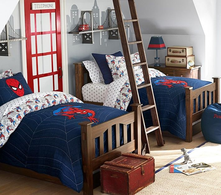 Brotherly Love How To Decorate A Bedroom For Two Boys Boys Bedroom Decor Bedroom Themes Spiderman Bedroom