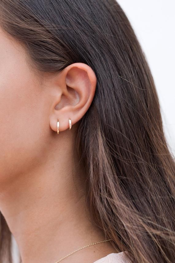 Dainty Square Edges Huggie Hoop Earrings - Two sizes, 9 and 11 mm
