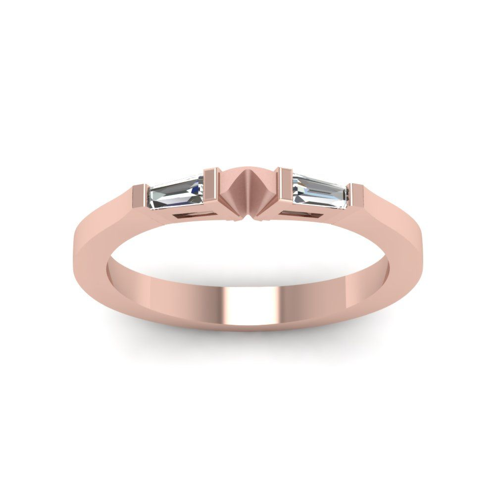 Tapered Baguette Diamond Wedding Band  Rose Gold